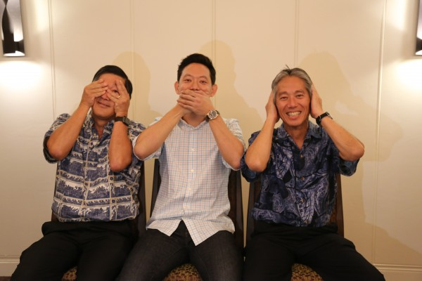 photo of dentists at aiea pearl city dental care silly photo left to right doctor nakamura doctor blake doctor matsuura