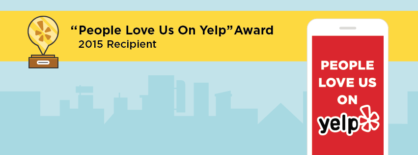 Photo of an award given to us by Yelp saying people love us on yelp